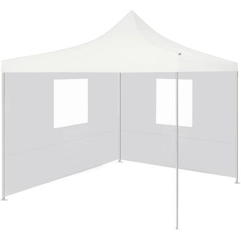 Carpa plegable profesional con 2 paredes acero blanco 2x2 m