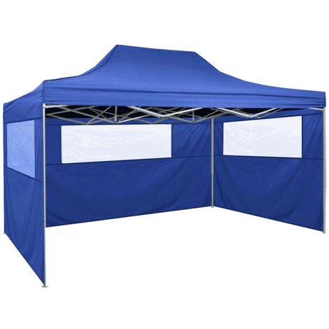 Carpa plegable profesional con 3 paredes acero azul 3x4 m