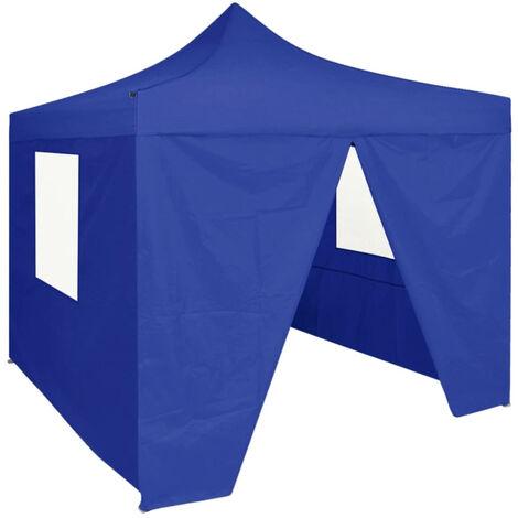 Carpa plegable profesional con 4 paredes acero azul 2x2 m