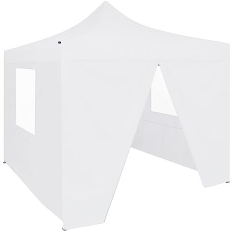 Carpa plegable profesional con 4 paredes acero blanco 3x3 m