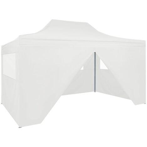 Carpa plegable profesional con 4 paredes acero blanco 3x4 m
