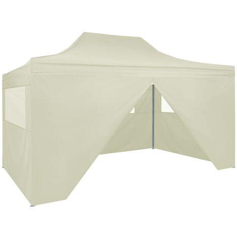 Carpa plegable profesional con 4 paredes acero color crema 3x4m