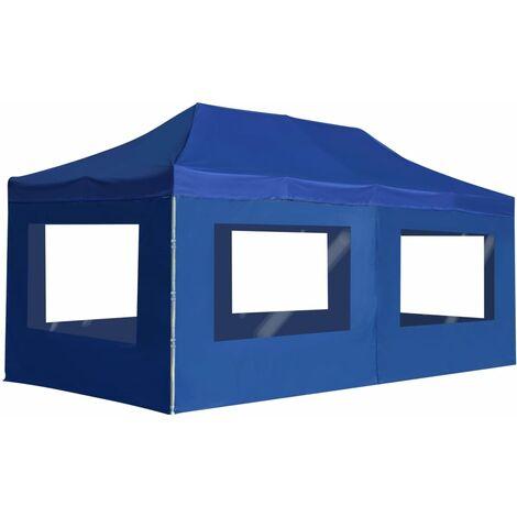 Carpa plegable profesional con paredes aluminio azul 6x3m
