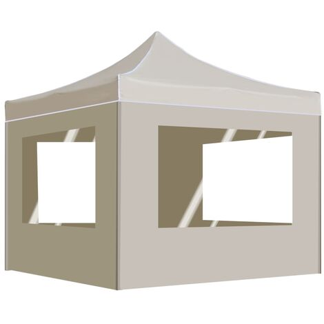 Carpa plegable profesional paredes aluminio color crema 2x2 m