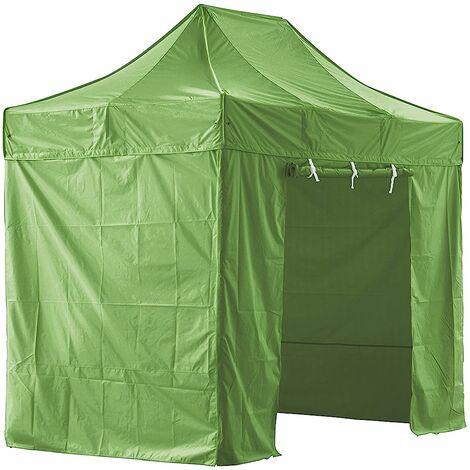 Carpa plegable verde con 4 paredes desmontables 2x3m SUPER Robusto Tubo de aluminio de 40mm Lona plegable Barnum impermeable 420D + Bolsa de transporte - Verde