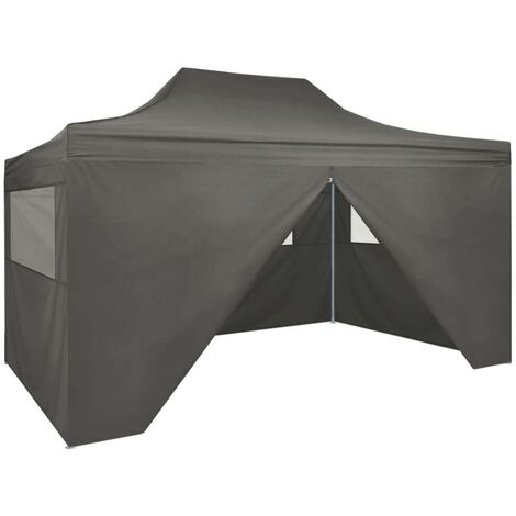 Carpa pleglable Pop-up con 4 paredes 3x4,5 m gris antracita
