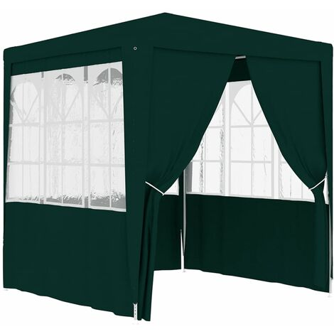 Carpa profesional para fiestas con paredes verde 90 g/m² 2,5x2,5 m