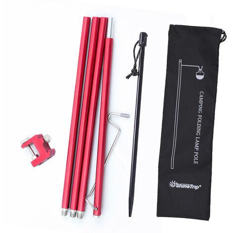 Carpa ShineTrip acampar al aire libre Luz Estante multifuncional portatil plegable de aluminio de aleacion de candelero pesca que acampa de la lampara de luz soporte desmontable de luz de lampara Polo Estante colgante, Rojo