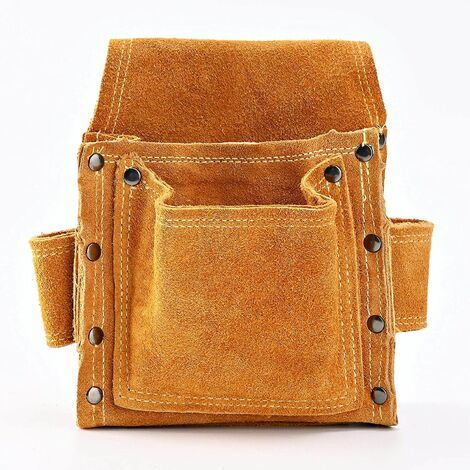 Carpenter's Waist Bag, Premium Leather Tool Belts With 2 Hammer Holders, Heavy Duty and Professional Bag for Electricians, Masons, Welders, Drywaller