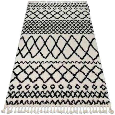 Carpet BERBER SAFI N9040 white / black Fringe Berber Moroccan shaggy - 140x190 cm