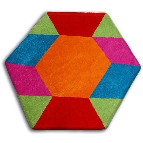 Carpet PAINT hexagon - 1550 blue - circle 80 cm