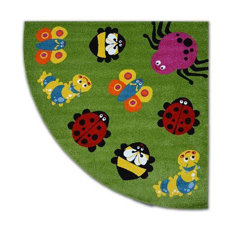Carpet PAINT quarter circle G4774 - Animals green/cream - 200x200 cm