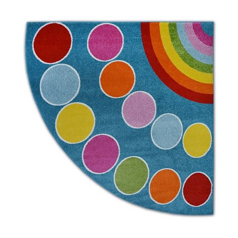 Carpet PAINT quarter circle G4776 - Rainbow blue/cream - 200x200 cm