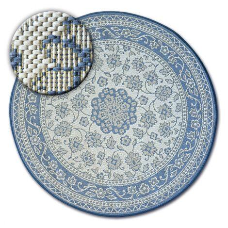 Carpet round FLAT 48691/591 SISAL - FLOWERS blue - circle 120 cm