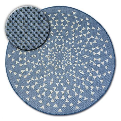 Carpet round FLAT 48715/591 SISAL - stained glass - circle 120 cm