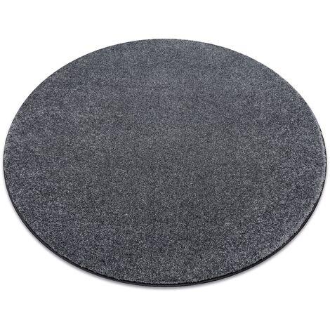 Carpet, round SAN MIGUEL grey 97 plain, flat, one colour - circle 133 cm