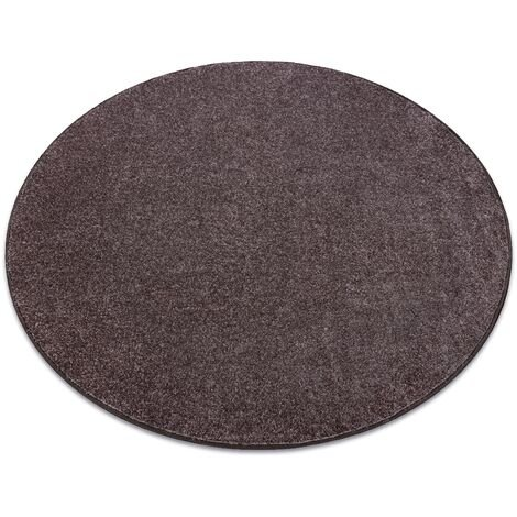 Carpet, round SANTA FE brown 42 plain, flat, one colour - circle 170 cm