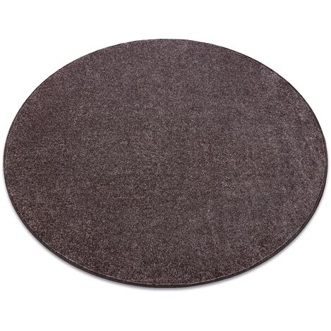 Carpet, round SANTA FE brown 42 plain, flat, one colour - circle 200 cm