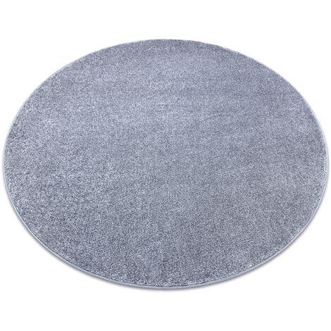 Carpet, round SANTA FE silver 92 plain, flat, one colour - circle 133 cm