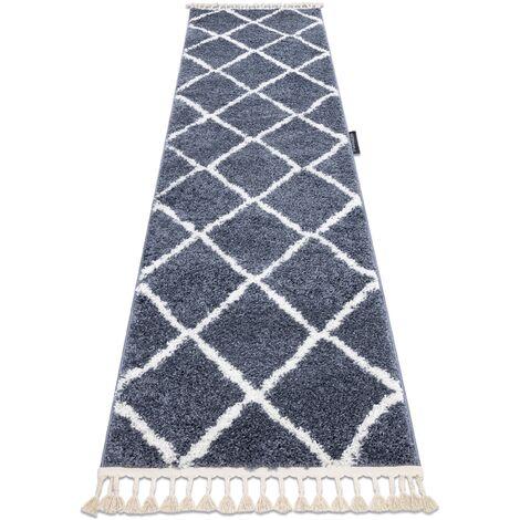 Carpet, Runner BERBER CROSS grey - for the kitchen, corridor & hallway - 60x300 cm