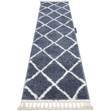 Carpet, Runner BERBER CROSS grey - for the kitchen, corridor & hallway - 80x250 cm