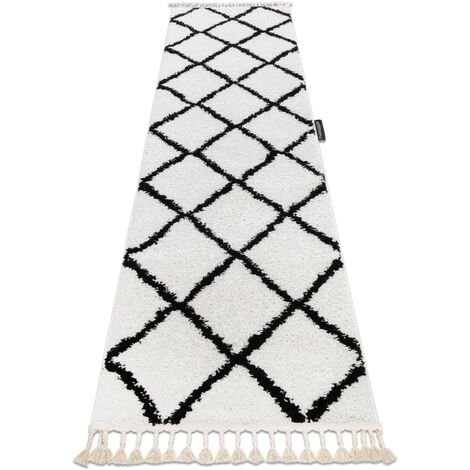 Carpet, Runner BERBER CROSS white - for the kitchen, corridor & hallway - 80x200 cm