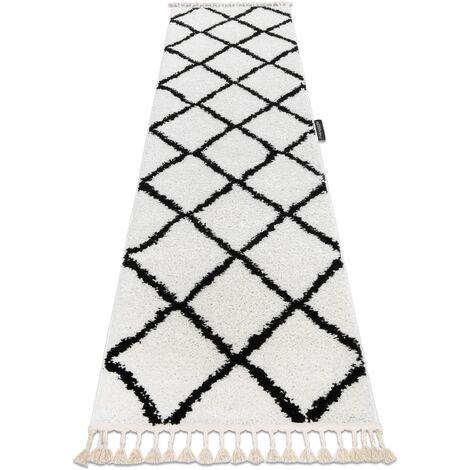 Carpet, Runner BERBER CROSS white - for the kitchen, corridor & hallway - 80x300 cm