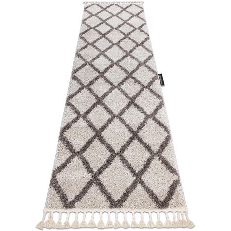 Carpet, Runner BERBER TROIK cream - for the kitchen, corridor & hallway - 70x300 cm