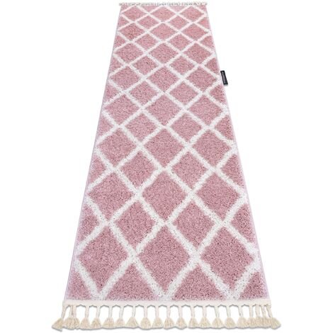 Carpet, Runner BERBER TROIK pink - for the kitchen, corridor & hallway - 60x300 cm