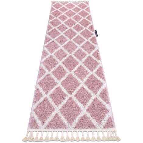 Carpet, Runner BERBER TROIK pink - for the kitchen, corridor & hallway Shades of pink 60x300 cm