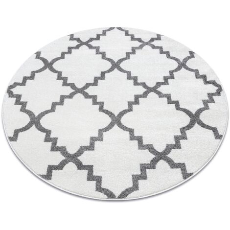 Carpet SKETCH circle - F343 white/grey trellis - circle 140 cm