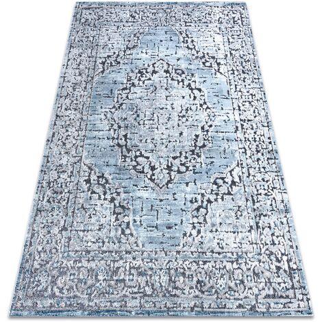Carpet Structural SIERRA G8076 Flat woven blue / grey - rosette - 80x150 cm