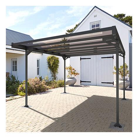 Carport 1 voiture 14.8 m² en aluminium et toit polycarbonate