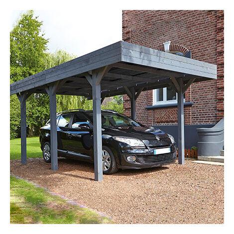 Carport 1 voiture 304x517x234 en pin anthracite et toit polycarbonate