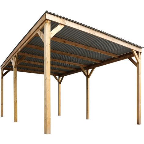 Carport 1 voiture - couverture PVC - L. 4,70 x P. 3,00 x H. 2,10 m