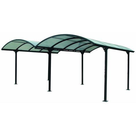Carport aluminium DOUBLE - Toit demi-rond 28,62 m2
