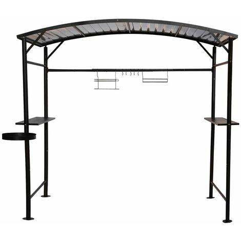 Carport barbecue finition époxy gris anthracite - toit réalisé en acier