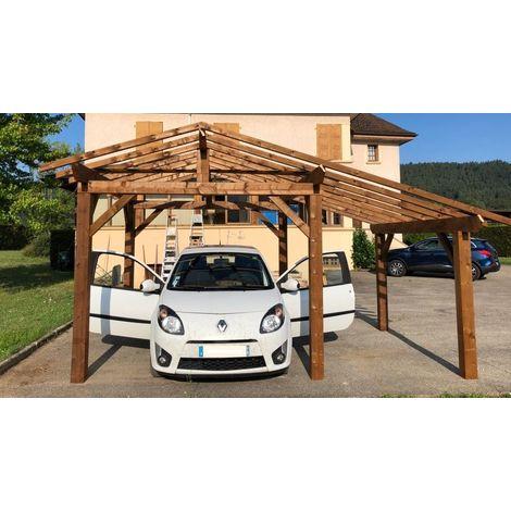 Carport bois |3.7 x 4.5 - 17.2 m² - 2 pans
