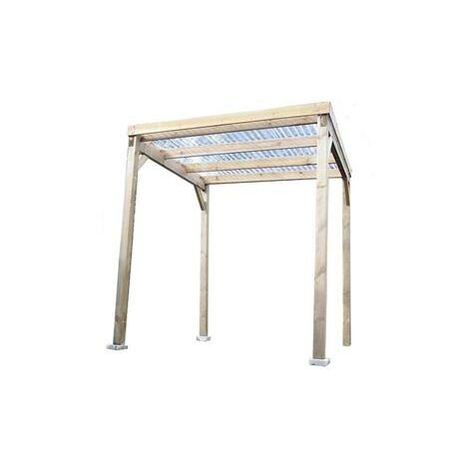 Carport bois autoclavé toit plat éco avec couverture 4 m2
