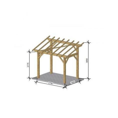 Carport bois autoportant - 1 Véhicule | Robuste