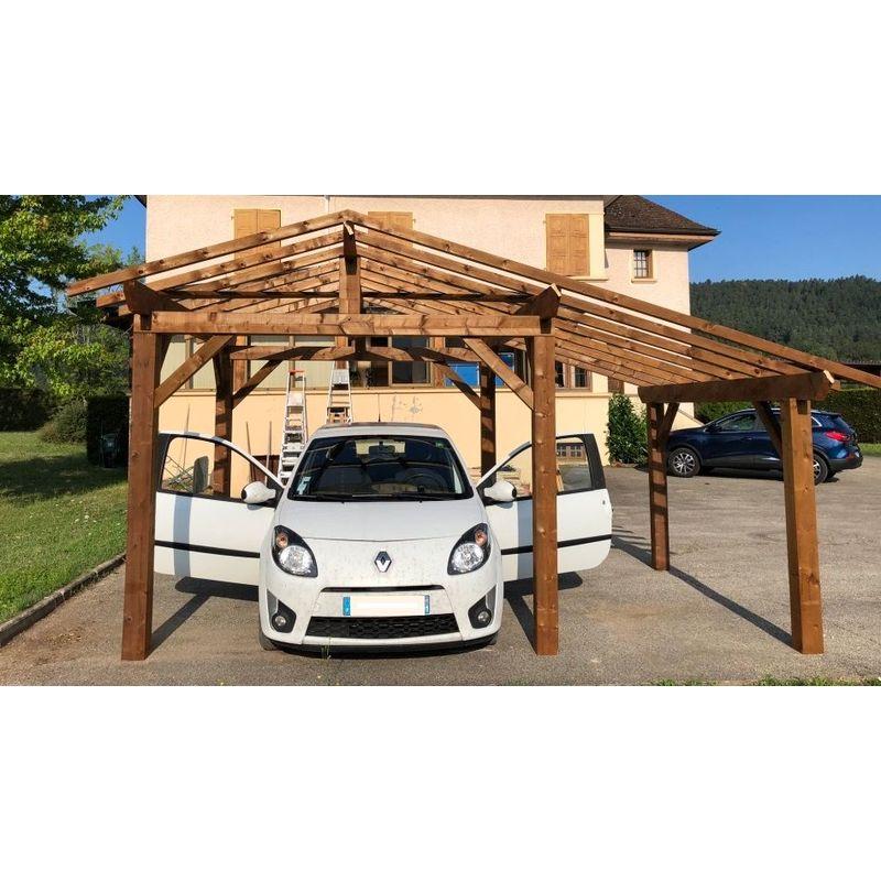 Carport bois - Autoportant |12,65m² - 2.8 x 4.5 - 2 pans