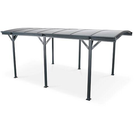 Carport de 15m² en aluminium anthracite et polycarbonate - Le Mans 5x3m - abri de voiture 500 x 300 x 220 cm