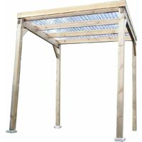 Carport en bois autoclavé toit plat couvert