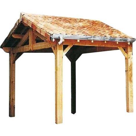 Carport en bois d'épicéa fabrication française 1 place Largeur 5m