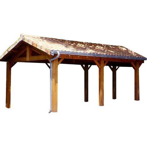 Carport en bois d'épicéa fabrication française 2 places Largeur 6m