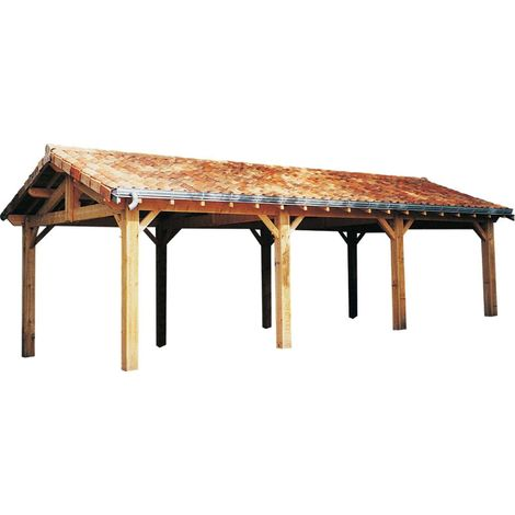 Carport en bois d'épicéa fabrication française 3 places Largeur 5m