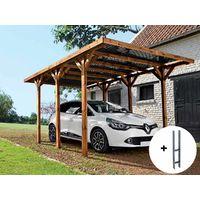 Carport en bois traité Enzo - 15,72 m² + Kit d'ancrage