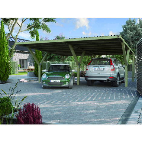 Carport en Y 612 double, disponible en différents types de couverture de toit.