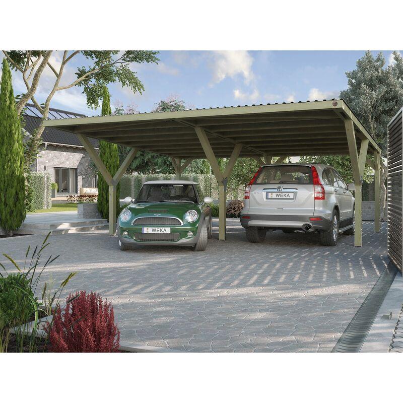 Carport en Y, WEKA double pour voiture avec toit PVC.
