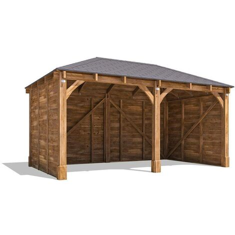 Carport Garage Artemis W5m x D3m - Double Car Shelter Wooden 2 Space Patio Canopy Car Port with Roof Felt